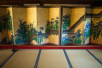 """Byobu, literally """"wind wall"""" are Japanese folding screens made from several joined panels bearing decorative painting and calligraphy, used to separate interiors and enclose private spaces.  Other uses are as background for ikebana displays."""