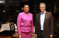 August 9, 2017 - Dar es Salaam, Tanzania – Philanthropists and friends BILL GATES and GRACA MACHEL MET up in Tanzania, where Machel opened the second Women Advancing Africa (WAA) conference, on Wednesday. The event brought together over 250 women leaders to discuss the critical role women play in shaping Africa's future. Gates was in Tanzania to learn more about the country's development priorities. He and Machel, widow of former South African President Nelson Mandela, talked about their shared vision for Africa's development. The Bill & Melinda Gates Foundation partners with the Graca Machel Trust to advance issues of food security, nutrition and maternal newborn childbirth. (Credit Image: © Ric Francis via ZUMA Wire)
