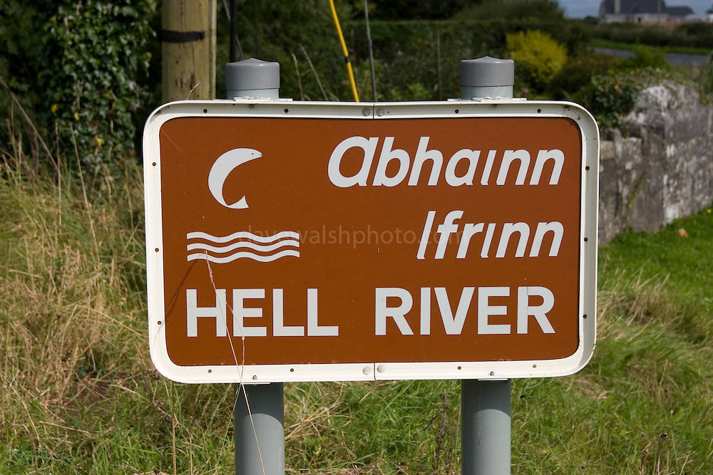 """Sign for Hell River, Tulla, Co. Clare, Ireland. Weird on this - I've yet been able to find out why it's called """"Hell River""""! It's on the R352 between Ennis and Tuamgraney"""