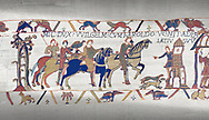 Bayeux Tapestry scene 14: Harold arives at Duke William of Normandy Castle. .<br /> <br /> If you prefer you can also buy from our ALAMY PHOTO LIBRARY  Collection visit : https://www.alamy.com/portfolio/paul-williams-funkystock/bayeux-tapestry-medieval-art.html  if you know the scene number you want enter BXY followed bt the scene no into the SEARCH WITHIN GALLERY box  i.e BYX 22 for scene 22)<br /> <br />  Visit our MEDIEVAL ART PHOTO COLLECTIONS for more   photos  to download or buy as prints https://funkystock.photoshelter.com/gallery-collection/Medieval-Middle-Ages-Art-Artefacts-Antiquities-Pictures-Images-of/C0000YpKXiAHnG2k