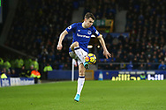 Seamus Coleman of Everton controls the ball. Premier league match, Everton v Leicester City at Goodison Park in Liverpool, Merseyside on Wednesday 31st January 2018.<br /> pic by Chris Stading, Andrew Orchard sports photography.