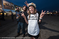 Brittney Olsen before the Reverend Horton Heat performance at the Buffalo Chip during the annual Sturgis Black Hills Motorcycle Rally. SD, USA. August 10, 2016. Photography ©2016 Michael Lichter.