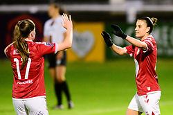 Chloe Logarzo of Bristol City Women celebrates scoring a goal with team mates - Mandatory by-line: Dougie Allward/JMP - 07/10/2020 - FOOTBALL - Twerton Park - Bath, England - Bristol City Women v London Bees - FA Continental Cup