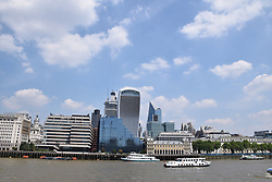 City of London July 2018. UK In the  middle 20 Fenchurch Street aka Walkie Talkie building