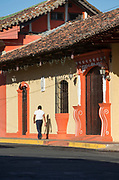 View of colonial style building wall on the street in the city of Granada, Nicaragua