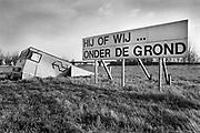 Nederland, Andelst, 1-12-1993Protest tegen de aanleg van de betuwelijn voor vrachtvervoer.Foto: Flip Franssen