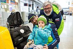 Jernej Slivnik, Gal Jakic and Roman Jakic prior to the departure of Slovenian Paralympic team for Pyeongchang 2018 Winter Paralympics, on March 3, 2018 in Letalisce Jozeta Pucnika, Brnik, Slovenia. Photo by Vid Ponikvar / Sportida