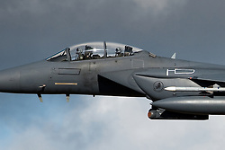 © London News Pictures FILE PHOTO 22/03/2011. Two US airmen have been rescued after ejecting from their F-15E Eagle warplane just before it crashed during allied operations in eastern Libya.The F-15E Strike Eagle is a American all-weather ground attack strike fighter. Andrew Chittock/LNP