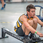 Luther Yates MALE HEAVYWEIGHT U16 2K Race #5 09:30am<br /> <br /> <br /> www.rowingcelebration.com Competing on Concept 2 ergometers at the 2018 NZ Indoor Rowing Championships. Avanti Drome, Cambridge,  Saturday 24 November 2018 © Copyright photo Steve McArthur / @RowingCelebration
