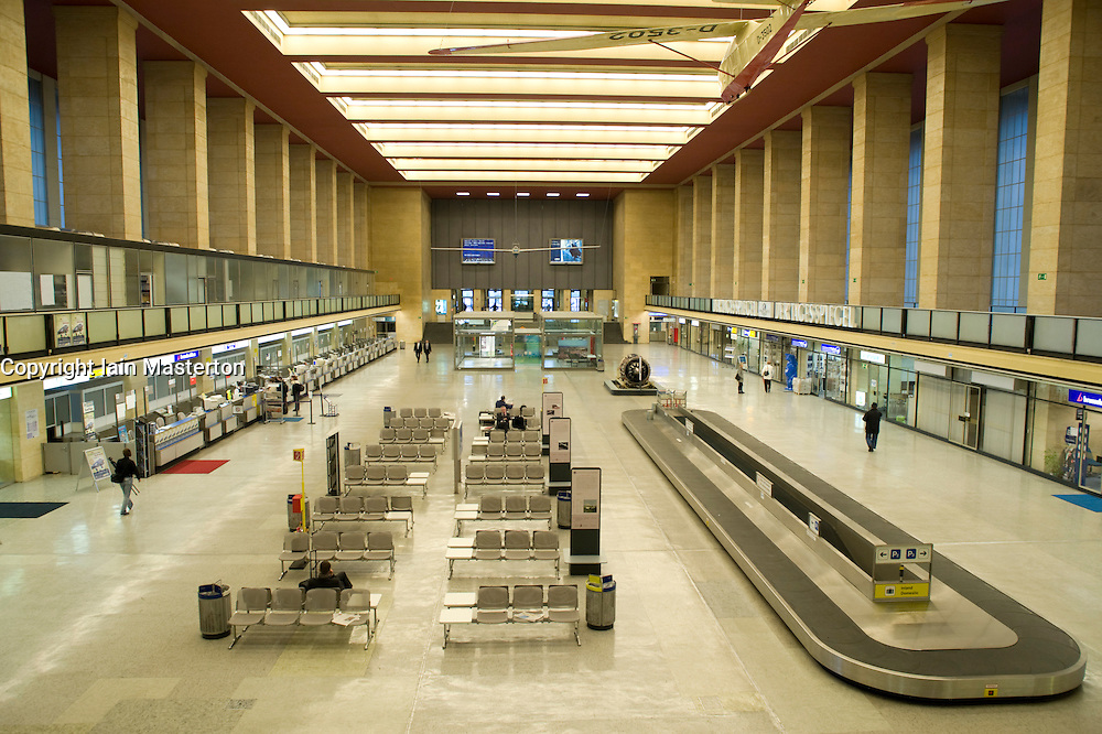 Interior of Tempelhof Airport in Berlin 2008. The Nazi era airport is of great architectural importance and closed in 2008