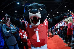 Dec 31, 2014; Atlanta , GA, USA; Mississippi Rebels mascot greets fans prior to the game against the TCU Horned Frogs in the 2014 Peach Bowl at the Georgia Dome. Mandatory Credit: Paul Abell/CFA Peach Bowl via USA TODAY Sports