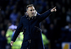 Sheffield Wednesday Manager Carlos Carvalhal points to the crowd in celebration of his sides 2-0 win over Brighton & Hove Albion - Mandatory by-line: Robbie Stephenson/JMP - 13/05/2016 - FOOTBALL - Hillsborough - Sheffield, England - Sheffield Wednesday v Brighton and Hove Albion - Sky Bet Championship Play-off Semi Final first leg