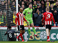 Dean Henderson of Sheffield Utd celebrates after keeping out a goal mouth scramble during the Premier League match at Bramall Lane, Sheffield. Picture date: 7th March 2020. Picture credit should read: Simon Bellis/Sportimage