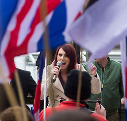 London, April 1st 2017. Deputy Leader of Britain First Jayda Fransen speaks to the crowd of protesters from nationalist and anti-Islamic group Britain First as they demonstrate in London following the Westminster terror attack of March 22nd.
