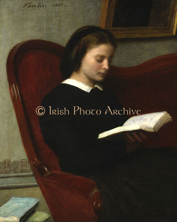 The Reader - Marie Fantin-Latour, Sister of the Artist': 1861, oil on canvas. Henri Fantin-Latour (1836-1904) French painter.