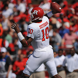 Apr 18, 2009; Piscataway, NJ, USA; Rutgers QB D.C. Jefferson throws a pass during the second half of Rutgers' Scarlet and White spring football scrimmage.