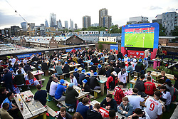 © Licensed to London News Pictures. 22/06/2021. London, UK. England Prepare to watch the Euro 2020 group game between Czech Republic and England at Skylight Rooftop in Tobacco Dock, east London. Photo credit: Ben Cawthra/LNP