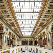 High resolution panorama of the main hall of the Royal Museums of Fine Arts in Belgium (in French, Musées royaux des Beaux-Arts de Belgique), one of the most famous museums in Belgium. The complex consists of several museums, including Ancient Art Museum (XV - XVII century), the Modern Art Museum (XIX ­ XX century), the Wiertz Museum, the Meunier Museum and the Museé Magritte Museum.