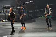 Mick Jagger, Ronnie Wood and Keith Richards, on stage. 14 on Fire tour, Perth, Western Australia