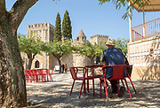 Village square and historic castle in Alter do Chão, Alentejo, Portugal, southern Europe built in the 14th century