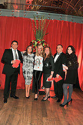 Left to right, BOBBY MALHOTRA, ANNAA-MARIE CHATTERPAUL, DENISE VAN OUTEN, LORRAINE DUFFY, MARK LEIGHTON and SOPHIE LUNDIE who paid £3000 to appear in Hello! with Denise Van Outen at One Night Changes Everything - a fundraising evening for the 2013 Comic Relief Campaign held at The Royal Opera House, London on 28th February 2013.