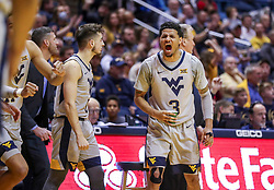 Dec 1, 2018; Morgantown, WV, USA; West Virginia Mountaineers guard James Bolden (3) celebrates from the bench during the second half against the Youngstown State Penguins at WVU Coliseum. Mandatory Credit: Ben Queen-USA TODAY Sports