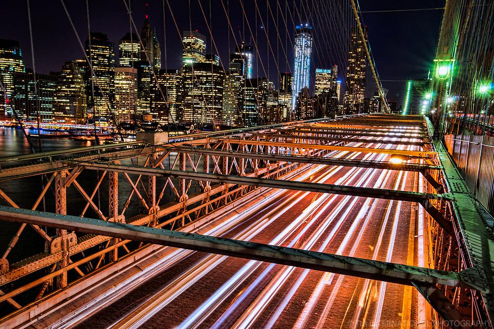 NYC - Evening Traffic, Brooklyn Bridge