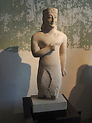 Male statue with rosette diadem. The loincloth and arm position. Exhibit of Egyptian influences. Circa 600 BC, Idalion, Nicosia New Museum, Berlin