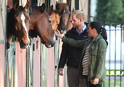 The Duke and Duchess of Sussex during their visit to the Moroccan Royal Federation of Equestrian Sports in Rabat on the third day of their tour of Morocco.