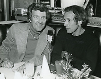 1978 Radio commentator and interviewer, Gregg Hunter, seen interviewing Larry Kert during his KIEV radio show at the Brown Derby Restaurant on Vine St. in Hollywood