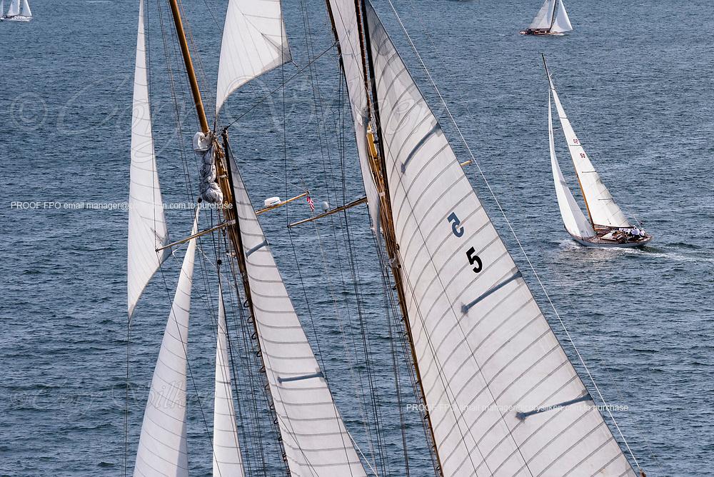 Eleonora and Sonny sailing in the Panerai Newport Classic Yacht Regatta, day one.