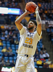 Nov 24, 2018; Morgantown, WV, USA; West Virginia Mountaineers forward Esa Ahmad (23) shoots a jumper during the second half against the Valparaiso Crusaders at WVU Coliseum. Mandatory Credit: Ben Queen-USA TODAY Sports