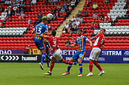 Shrewsbury Town defender James Bolton (13) heads towards goal during the EFL Sky Bet League 1 match between Charlton Athletic and Shrewsbury Town at The Valley, London, England on 11 August 2018.