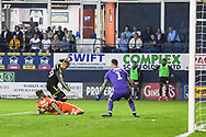 AFC Wimbledon Forward Joe Pigott (39) goes down in the box but the referee waves it away during the EFL Sky Bet League 1 match between Luton Town and AFC Wimbledon at Kenilworth Road, Luton, England on 23 April 2019.