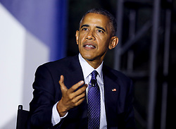 US President Barack Obama participates at a panel discussion on climate change with Leonardo DiCaprio (unseen) and Dr. Katharine Hayhoe (unseen), as part of the White House South by South Lawn event, in the South Lawn of the White House, Washington DC, October 3, 2016. (Pool/Aude Guerrucci)