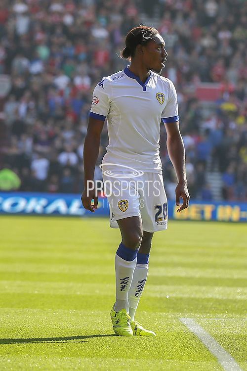 Leeds United forward Jordan Botaka during the Sky Bet Championship match between Middlesbrough and Leeds United at the Riverside Stadium, Middlesbrough, England on 27 September 2015. Photo by Simon Davies.