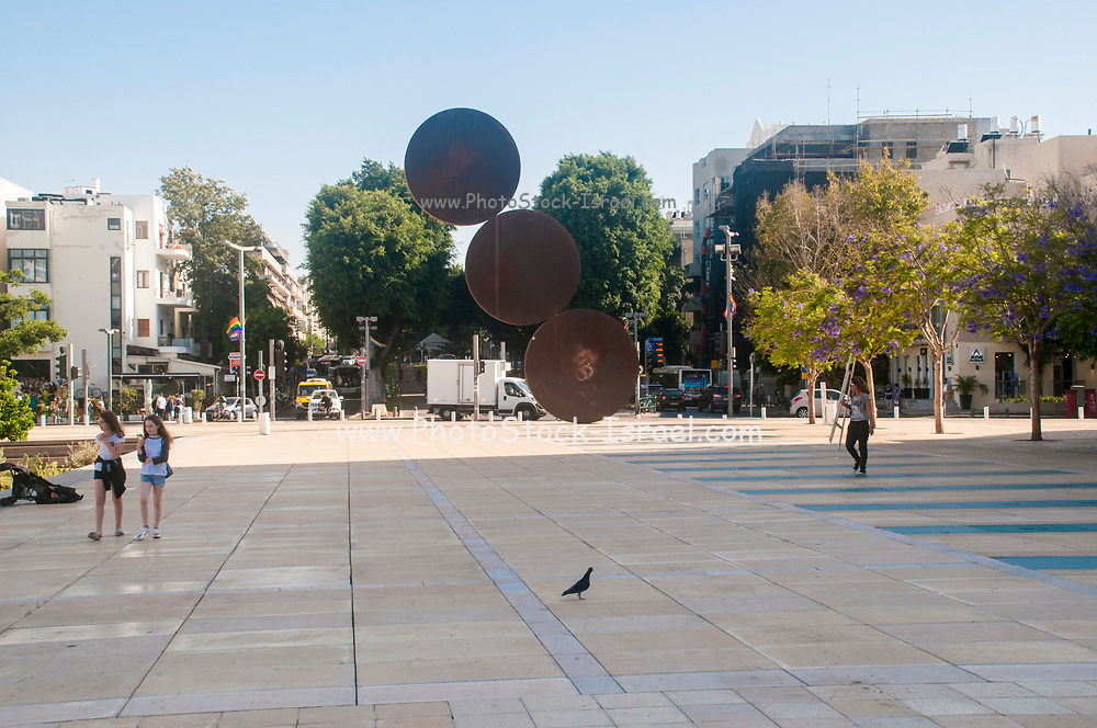 Israel, Tel Aviv, Habima square. AKA culture square with the Habina natural theatre and the Israeli philharmonic concert hall