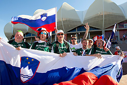 Slovenia fans enjoy prior to the 2010 FIFA World Cup South Africa Group C Third Round match between Slovenia and England on June 23, 2010 at Nelson Mandela Bay Stadium, Port Elizabeth, South Africa.  (Photo by Vid Ponikvar / Sportida)