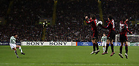 Photo: Paul Thomas.<br /> Glasgow Celtic v AC Milan. UEFA Champions League. Last 16, 1st Leg. 20/02/2007.<br /> <br /> Shunsuke Nakamura (L) of Celtic tries one off his specialist free kicks at goal, but this time no luck.