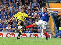 Ronny Johnsen (Aston Villa) Teddy Sheringham (Portsmouth) Portsmouth v Aston Villa. 16/8/2003. Credit :  DIGITALSPORT/Andrew Cowie.