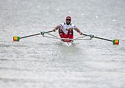 Plovdiv, Bulgaria, 10th May 2019, FISA, Rowing World Cup 1,  BEN M1X, Orivel HINKATI, at the start, of a heat of the Men's Single Sculls, © Peter SPURRIER,