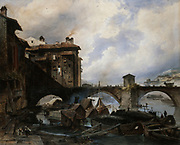 Bridge at Lyon', 1830. Gouache and watercolour. Louis Etienne Watelet (1780-1866) French painter. Lyon (English, Lyons) city in east-central France.  River Water Transport Barge Quay