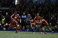 Tom James of Cardiff Blues (c). Guinness Pro14 rugby match, Cardiff Blues v Dragons at the Cardiff Arms Park in Cardiff, South Wales on Friday 6th October 2017.<br /> pic by Andrew Orchard, Andrew Orchard sports photography.