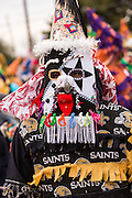 Revelers in traditional costume during the Faquetigue Courir de Mardi Gras chicken run on Fat Tuesday February 17, 2015 in Eunice, Louisiana. The traditional Cajun Mardi Gras involves costumed revelers competing to catch a live chicken as they move from house to house throughout the rural community.