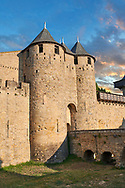 Carcassonne medieval historic fortifications and battlement walls of Carcassonne castle, CarcassonneFrance