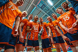 12-06-2019 NED: Golden League Netherlands - Estonia, Hoogeveen<br /> Fifth match poule B - The Netherlands win 3-0 from Estonia in the series of the group stage in the Golden European League / Nimir Abdelaziz #14 of Netherlands, Thijs Ter Horst #4 of Netherlands, Gijs Jorna #7 of Netherlands, Wouter Ter Maat #16 of Netherlands, Gijs van Solkema #15 of Netherlands, Gijs van Solkema #15 of Netherlands, Daan van Haarlem #1 of Netherlands