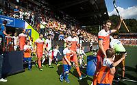 AMSTELVEEN -   Opkomst spelers , Mirco Pruyser (Ned), Bjorn Kellerman (Ned) , Sander Baart (Ned) , Billy Bakker (Ned)  voor de finale Belgie-Nederland (2-4) bij de Rabo EuroHockey Championships 2017.   COPYRIGHT KOEN SUYK