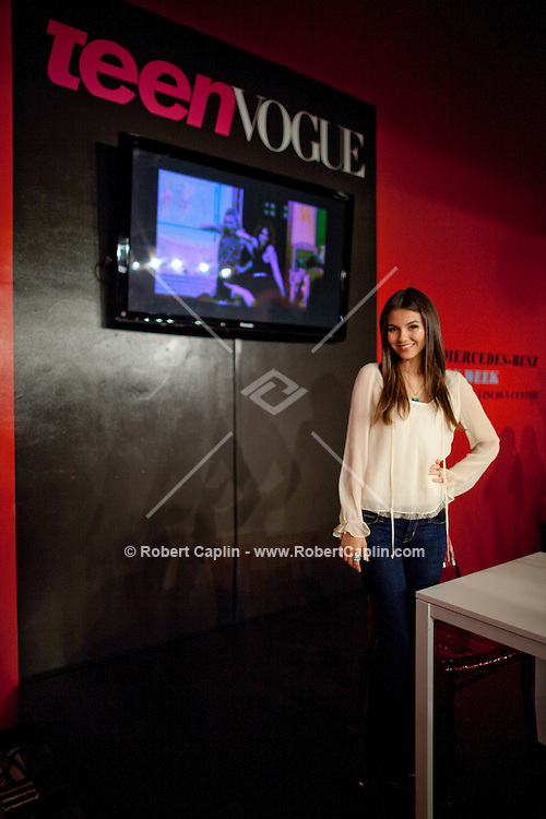 Actress and singer Victoria Justice at a Teen Vogue event in New York during Fall Fashion week 2011. ..Photo by Robert Caplin.