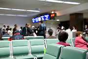 out of focus view of boarding terminal at an airport