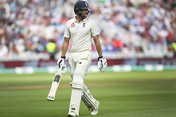 England batsman Dawid Malan is out for 20 to India bowler Mohammed Shami during day three of the Specsavers First Test match at Edgbaston, Birmingham.